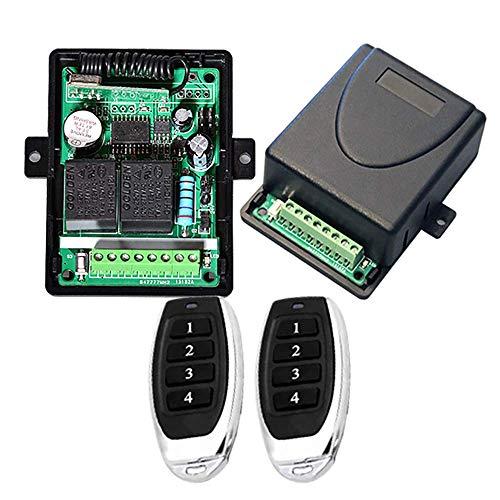 Universal 12 V/24 V DC 2 CH 433 MHz Receptor kit con salida relé activo y apagado, rango de trabajo 50 m-70 m para iluminación/cancela/seguridad/motor, momentáneo/interruptor/latched