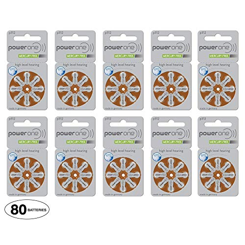 Power One Size 312 Hearing Aid Batteries (80...