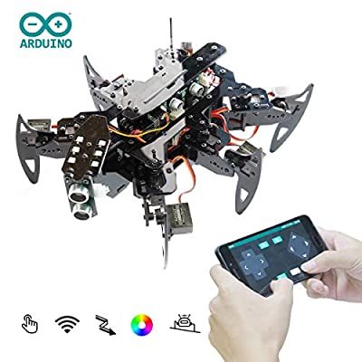 Adeept Hexapod Spider Robot Kit Compatible with Arduino Android APP and Python GUI, Spider Walking Crawling Robot, Self-stabilizing Based on MPU6050 Gyro Sensor, STEAM Robotics Kit with PDF Manual