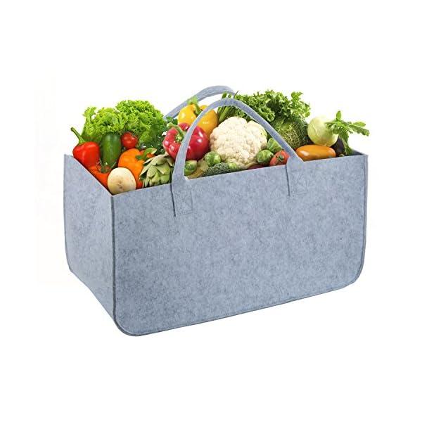 Bolsa de Fieltro, Wolintek maderaTote Chimenea Madera Cesta con Mango para Transportar Madera, Juguetes, Periódicos, Compras,camping 50 x 25 x 25 cm (gris)