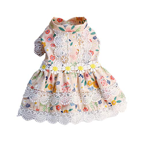 Soapow Vestido de Perro Vestido de Fiesta de Perro, Cachorro de Encaje Dobladillo Floral Vestido de Mascota para Perros pequeños