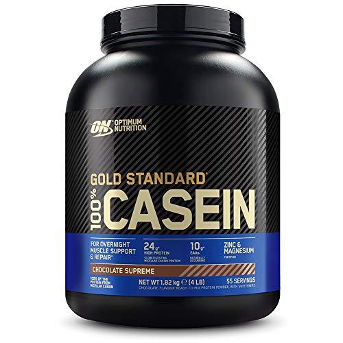 Optimum Nutrition ON 100{8f53f761f75f884f95d784f4cdb345ec6ffd2b2fea0f3378a2567d835aef113a} Gold Standard Casein Protein, Eiweißpulver Reich an Essentiellen Aminosäuren Komplex, BCAA, Chocolate Supreme, 55 Portionen, 1,82kg, Verpackung kann variieren