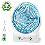 DP Battery Operated Desk Fan, 4000mAh Rechargeable Battery (Included), 3 Speeds, 330 Degree Rotation, Ultra Quiet Cooling USB Personal Table Fan with Night Light for Home and Office