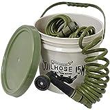 セフティー3 コイルホース 15m バケツセット 15L ジェット シャワー 広角 7パターン切替 olive オリーブ