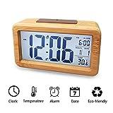 Sekmorpo Despertador, Reloj Despertador Digital Madera, Electrónico 3 Pulgadas LCD Pantalla de Batería con Calendario y Termometro Digital, Automaticamente Inducción de Luz DN249