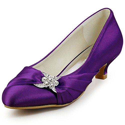 ElegantPark Purple Dress Shoes for Women Low Heel Closed Toe Bridal Wedding Shoes for Bride Bridesmaid Comfortable Rhinestones Satin Prom Evening Party Shoes US 6.5