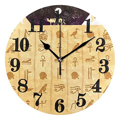 Mesllings Reloj de pared redondo con símbolos egipcios étnicos clásicos de Egipto, funciona con pilas, de cuarzo, decoración para el hogar, sala de estar, dormitorio, oficina