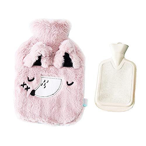 Drizzle Bolsa de agua caliente Bolsa Goma con cubierta de forro polar suave Serie de animales (Fox pink)