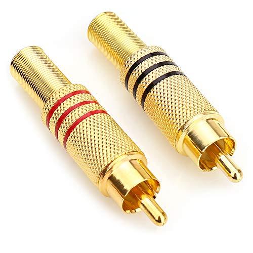 Nanyi vergoldete lautsprecher phono rca stecker auf 2 schraubklemmenleiste audio video typ balum stecker adapter für multimedia und cctv (2 paket)