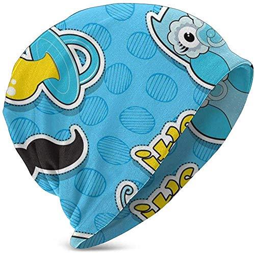 Kids Soft SlouchyBeanie Baggy Skull Hat, Het is een jongen opschrift snor uniconr fopspeen Unisex Teen verschillende gebreide muts stijlen