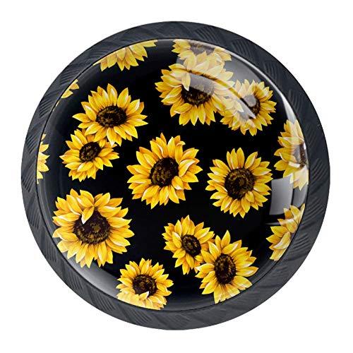 Zonnebloemen in zwarte achtergrond lade knoppen Pull handgrepen 30MM 4 Stks glazen kast lade trekkers voor thuis keuken kast