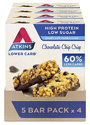Atkins High Protein Bar, Keto Snack, Low Carb, Low Sugar Chocolate Chip Crisp Snack Bar, 5 Bar Box x 4 (20 Bars Total)