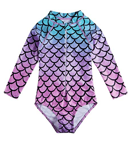 Fanient Baby Girls UPF 50+ Sun Protection Bodysuit Fish Scale Long Sleeve Zipper Quick Dry One Piece Swimsuit 3-4T