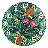 Reloj de Pared Aloha Tropical Palm Leaves Floral Turtle Redondo Acrílico Reloj Blanco Números Grandes Silencioso Sin tictac Reloj Pintura Decorativa Reloj con Pilas para e School Hotel Library