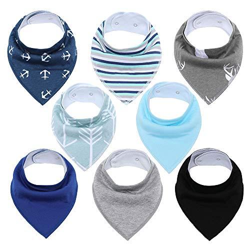 Baberos para bebés Baberos bandana Unisex Paquete de 8 Set de regalo para babear y dentición Baberos de algodón suave y absorbentes hipoalergénicos