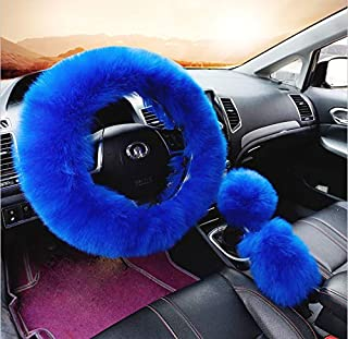 Generic Multicolor Fuzzy Steering Wheel Cover Fuzzy Car Accessories, Universal Fit Car Steering Wheel Cover (Blue)