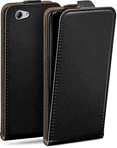 moex Flip Hülle für HTC One A9s - Hülle klappbar, 360 Grad Klapphülle aus Vegan Leder, Handytasche mit vertikaler Klappe, magnetisch - Schwarz