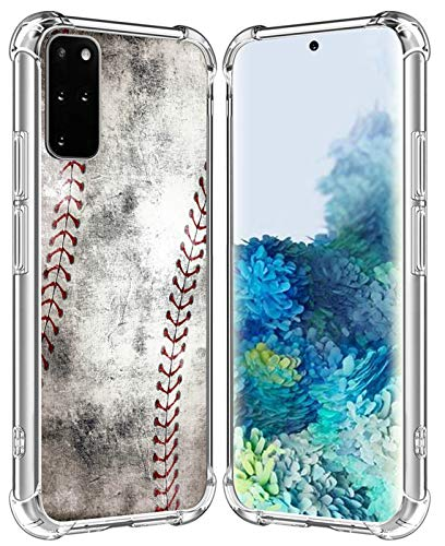 S20 Plus 5G Case/IWONE Designer Rubber Durable Protective Skin Transparent Cover Shockproof Compatible for Samsung Galaxy S20 + Plus 5G Creative Vintage Baseball Art Printing