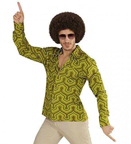 70er Jahre Retro Hemd mit Tapetenmuster Grün Disco Herren Kostüm Siebziger Schlager, Größe:S/M