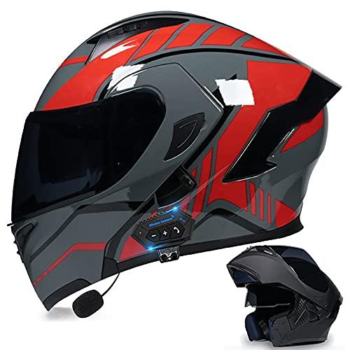 BDTOT Casco de Moto Modular Bluetooth Integrado con Doble Visera Cascos de Motocicleta Dot/ECE Homologado Forro Extraíble a Prueba de Viento para Adultos Hombres Mujeres