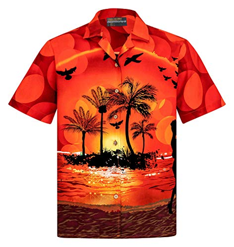 Hawaiihemdshop Hawaiihemd | Herren | Baumwolle | Größe S - 8XL | Kurzarm | Hawaiihemden | Strand | Beach | Palmen | Meer | Aloha | Kokosnuss-Knöpfe | Hawaii Hemd