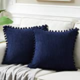 Fancy Homi Pack of 2 Corduroy Navy Blue Decorative Throw Pillow Covers with Pom-poms, Solid Square...