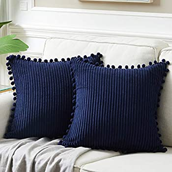 Fancy Homi Pack of 2 Corduroy Navy Blue Decorative Throw Pillow Covers with Pom-poms Solid Square Cushion Case Pillow Cases Set for Couch Sofa Bedroom Car Living Room  18x18 Inch/45x45 cm Navy Blue
