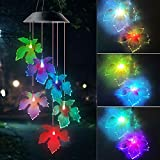ShangTianFeng Black Maple Leaf Solar Wind Chimes Outdoor Gardening Gifts for mom Unique Birthday Gifts for Women who has Everything Mother Gifts Gifts for Girlfriend Valentine Gifts for Wife