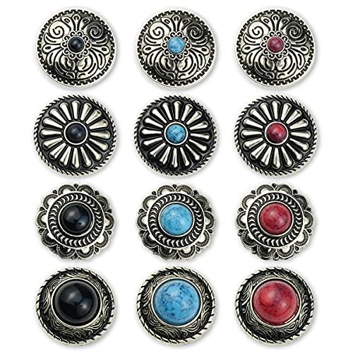 コンチョ ボタン 12個セット ターコイズ ネジ式 シルバー 25mm デージー 唐草 フラワー レザークラフト 財布 装飾ボタン