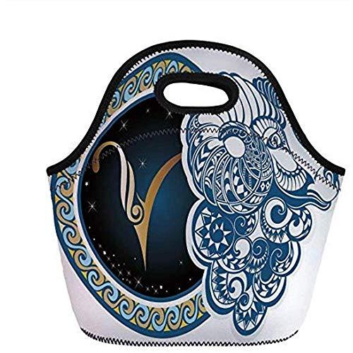 Zodiac Decor, Astrologische Ram Symbool met Gehoornde Hoofd Ram Geit Terrestrial Event Image, Blauw Goud, voor Kinderen Volwassen Thermische Geïsoleerde Tassen