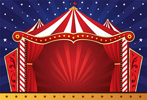 Laeacco Cartoon Red White Stripes Circus Stage Red Curtain Backdrop 5x3ft Vinyl Shiny Starry Night Sky Photography Background Kids Baby Portrait Shoot Birthday Party Banner Cake Smash