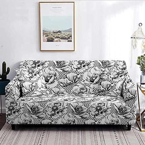 Funda elástica para sofá de 3 plazas, gris, blanco, flores, poliéster, spandex, esquinero, para sofá, fundas para sofá, fundas para sofá elásticas antideslizantes, funda para sofá con estampado univ