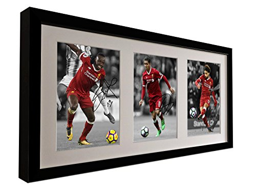 Signed Black 2018 Liverpool FC - Sadio Mane - Roberto Firmino - Mo Mohamed Salah - Autographed Photo Photograph Picture Frame Gift