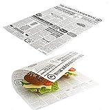 Kerafactum - 20 fogli di cera per patatine fritte e patatine fritte, adatti per French Fries, motivo Daily News giornali, 35 x 25 cm
