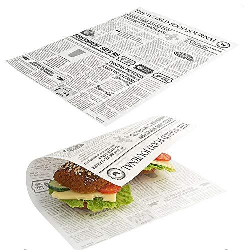 Kerafactum 20 Stück fettdichte Wachsblätter für Pommestüte Pommes Tüten Kartoffelstäbchen Fish and Chips geeignet French Fries Motiv Daily News Zeitung Tüte Zeitungstüte Größe 35 x 25 cm