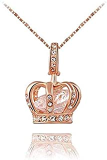 LOSOUL Jewelry Womens Queen Crown Pendant Necklace 3 Lays Rose Gold/Platinum Plated with Austrain Crystals Best Gift for Girl Friend Party Valentine's Mothers Day and Christmas