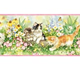 Pink and Yellow Floral Kittens Wallpaper Border Growing Up With Chesapeake