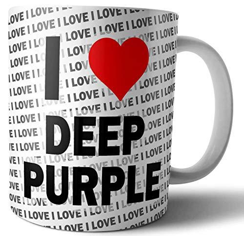 Taza con texto en inglés'I Love Deep Purple Te', café, taza de cumpleaños, Navidad, regalo