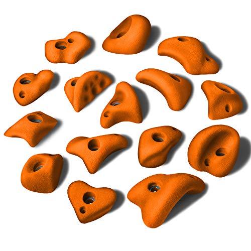 ALPIDEX 15 M/L Klettergriffe im Set Verschiedene Formen, kleine Henkel, Tritte, in vielen Farben, Farbe:Sporty Orange