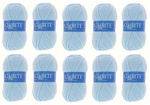 Lot 10 Pelotes de laine Azurite 100% Acrylique Tricot Crochet Tricoter - Bleu - 3036