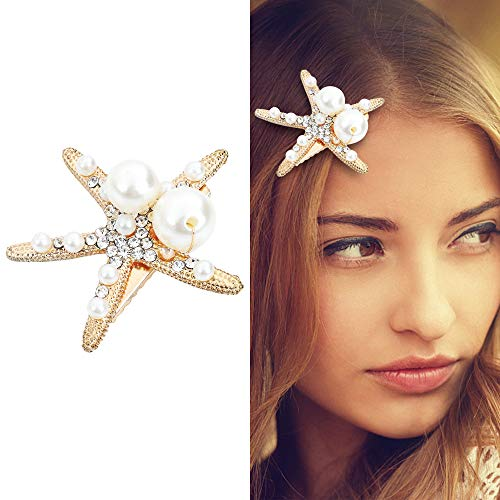 Small Size Pearl Rhinestone Starfish Hair Clips Gold, Vintage Crystal Hair Barrette for Women Girl, Wedding Party Hair Decoration Sturdy Alloy Hair Accessories Valentine's Birthday Mother's Day Gift