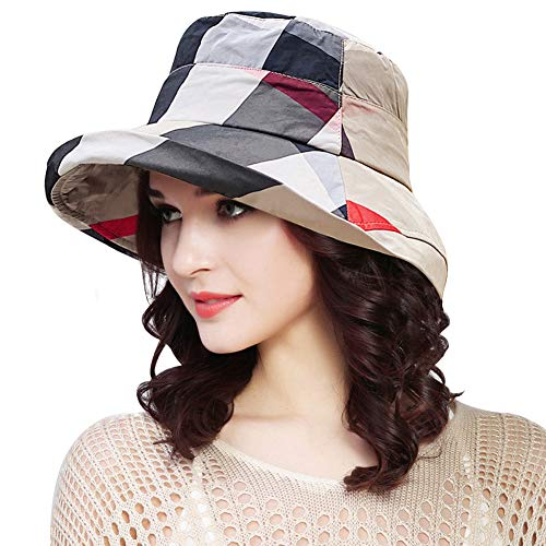 DOCILA Womens Summer Floppy Hats Stylish Crushable Bucket Rain Cap Water Resistant Beach Travel Hiking Fisherman Hat with Drawstring (Beige)