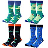 Moyel Men's Funny Crew Socks Novelty Cool Fun Cotton Socks (4 Pairs Golf)