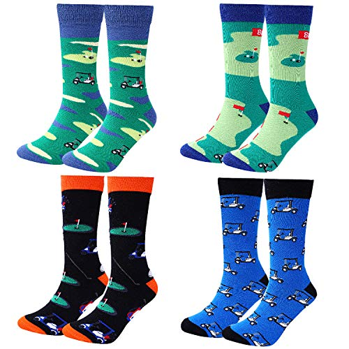 Moyel Men's Funny Crew Socks Novelty Cool Fun Cotton Socks (4 Pairs Golf)