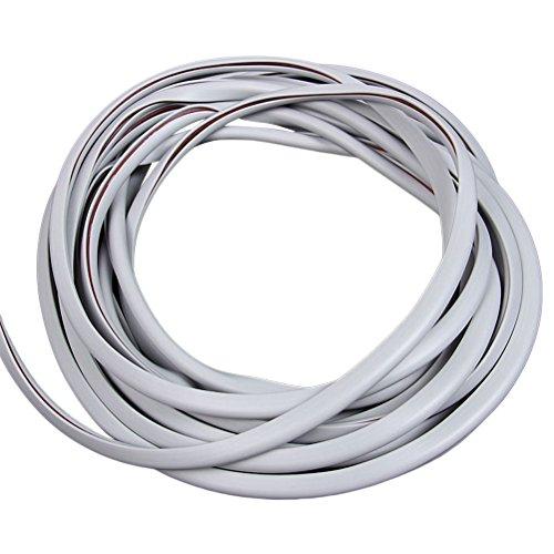 WINOMO Protector Puerta Coche 10M Tiras Decorativas para Coche Cinta Decorativa Adhesiva para Autos Gris Claro