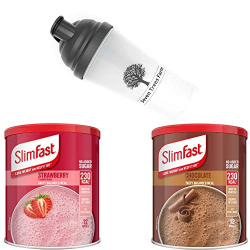 SlimFast KIT Made of 3 Products, 2X High Protein Meal Replacement Shakes (Summer Strawberry 292g and Chocolate 300g) and 1x STF Nutrition Shaker 700ml