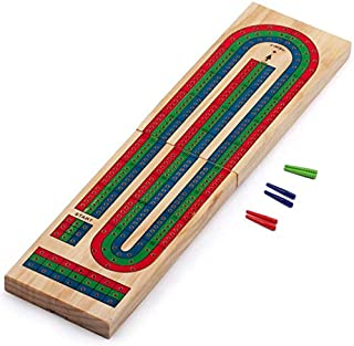GSE Games & Sports Expert Wooden Folding 3-Track Color Coded Cribbage Board