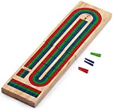 Wooden Folding 3-Track Color Coded Travel Cribbage Board with 6 Plastic Pegs