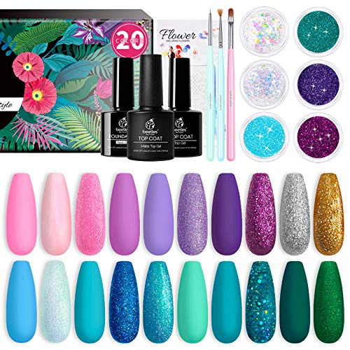 Beetles Gel Nail Polish Kit, Mermaid 20 Colors Soak Off Gel Polish Starter Kit with 1 Base Coat 1 Glossy & 1 Matte Top Coat 3 Nail Brushes 6 Colors Glitter 1 Mermaid Nail Stickers Holiday Gifts Set