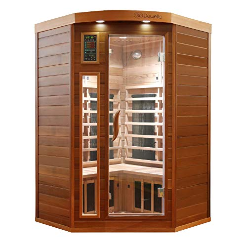 Dewello Infrarotkabine LAKEFIELD PRO 140x140 für 1-3 Personen aus Zedernholz mit Vollspektrum & Magnesiumoxid